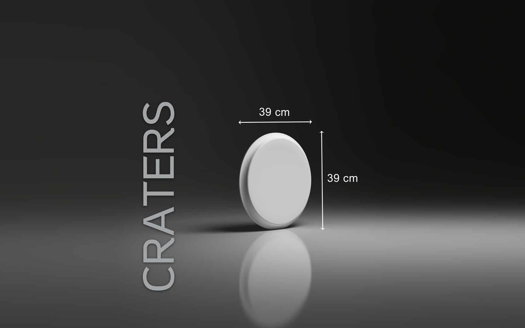 CRATERS DIMENSIONS : diamètre 39 cm ÉPAISSEUR : 3,5 cm POIDS : environ 2 kg