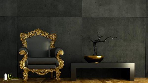 Design noir et or avec de la feuille de béton noir en décoration murale