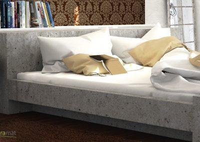 Exemple d'application sur une tête de lit et montant de feuille de béton