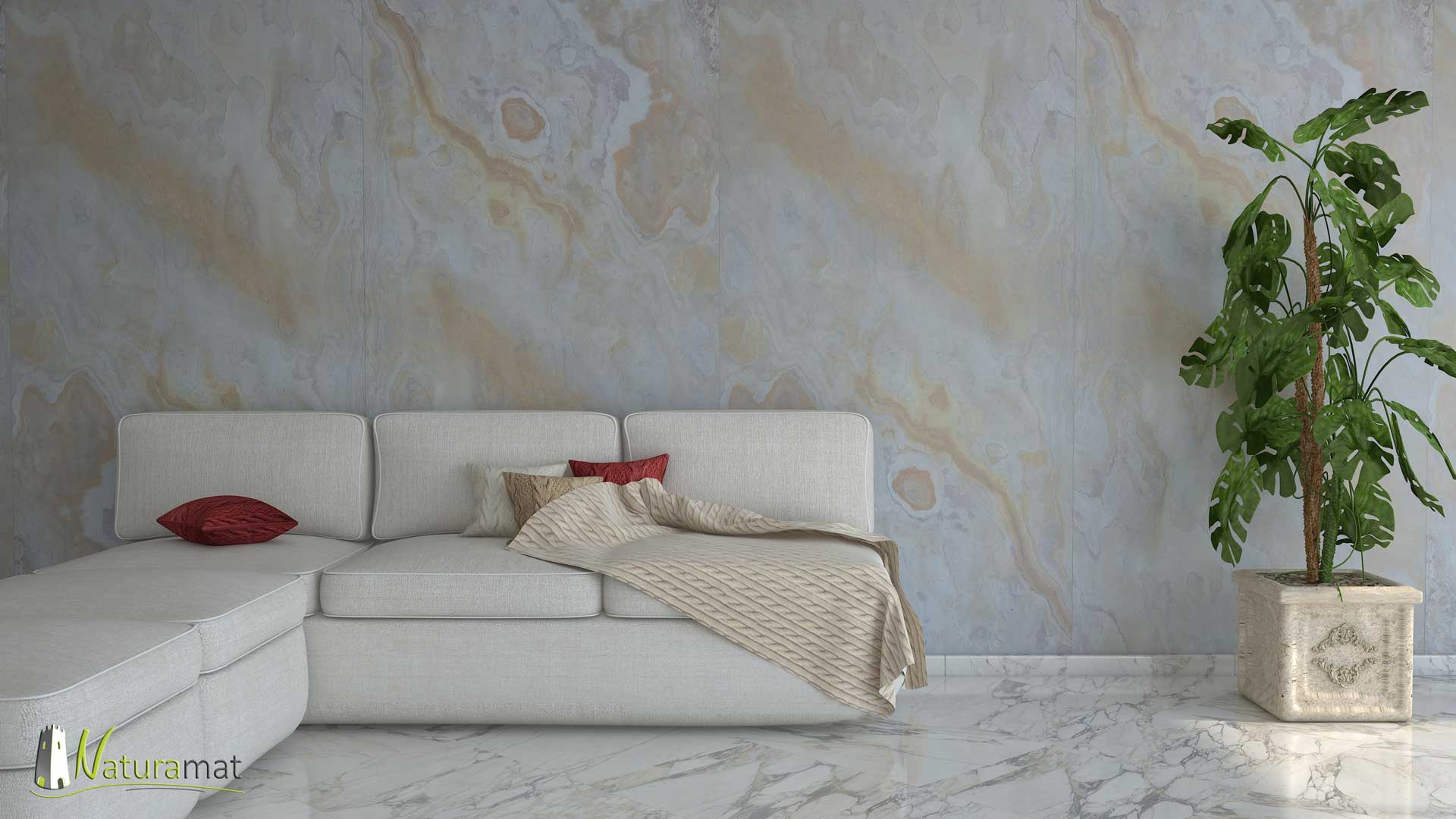 Feuille de pierre naturelle flexible Sanjeevani White