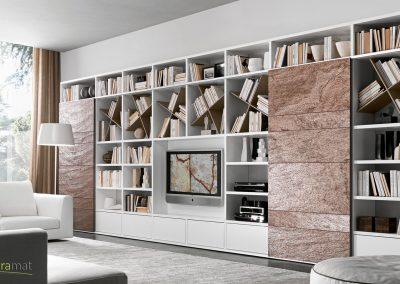Placage de feuille de pierre sur une bibliothèque design