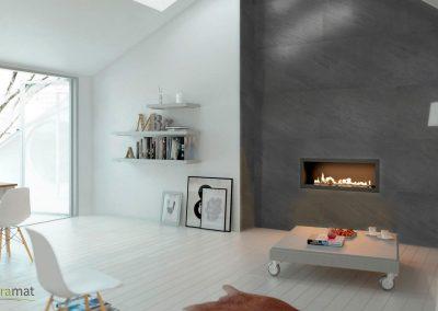 Feuille de pierre Designflex application autour d'un insert de cheminée