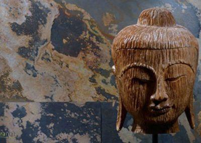 Feuille de pierre Designflex application murale avec tête de Boudha