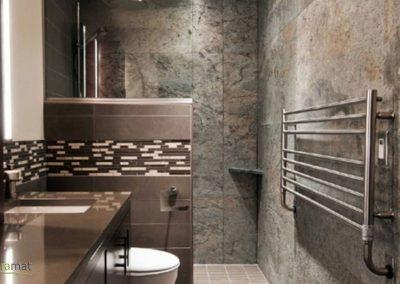 Salle de bain et intérieur de douche en feuille de pierre