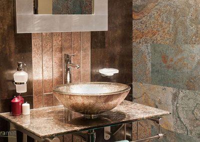 Cas d'application de la feuille de pierre en salle de bain