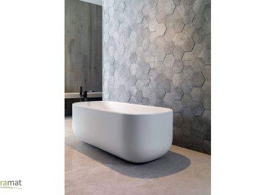 Feuille de pierre Décoration murale de salle de bain en nid d'abeille