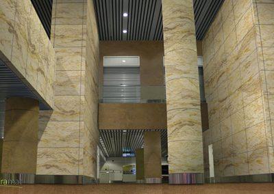 Hall d'immeuble et piliers décorés avec de la feuille de sable