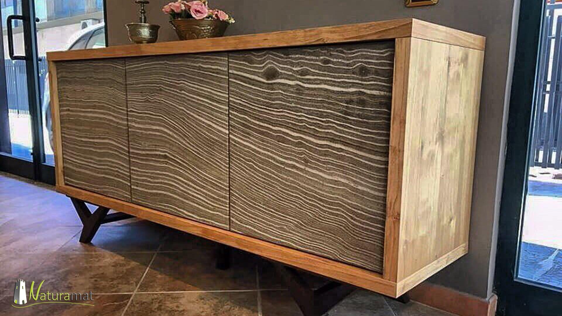Réalisation d'un meuble habillé de feuille de sable