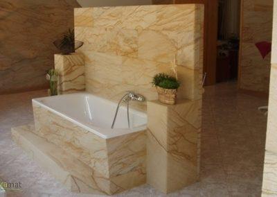 cas d'application de feuille de sable en salle de bain