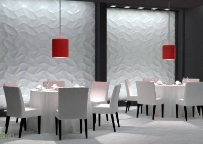 Agencement restaurant Panneaux 3D Naturamat Dunes Origami