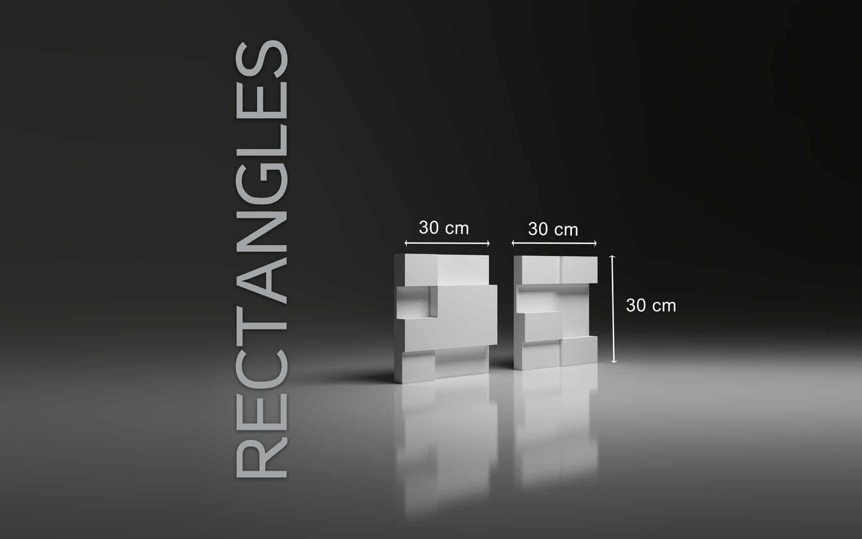 RECTANGLES DIMENSIONS : hauteur 30 x largeur 30 cm ÉPAISSEUR : de 2,2 cm à 5,3 cm  POIDS : environ 2,5 kg