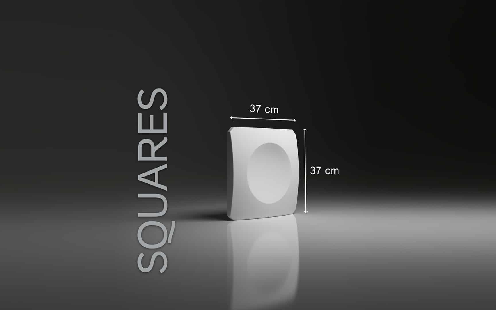 SQUARES DIMENSIONS : hauteur 37 cm x largeur 37 cm ÉPAISSEUR : 4,0 cm POIDS : environ 3;7 kg