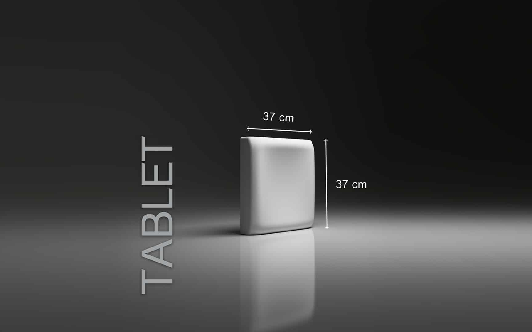 TABLET DIMENSIONS : hauteur 37 cm x largeur 37 cm ÉPAISSEUR : de 3,0 cm à 5,0 cm POIDS : environ 4 kg